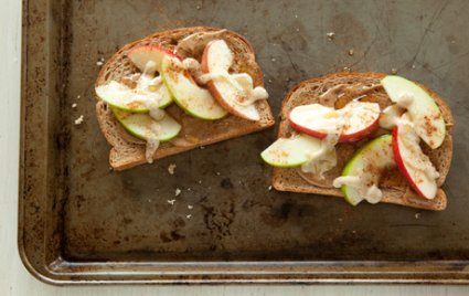 open face apple tahini sandwich